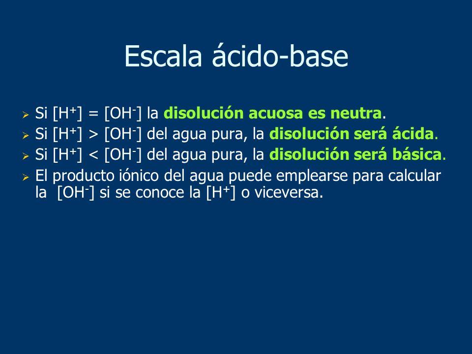 Escala ácido-base Si [H+] = [OH-] la disolución acuosa es neutra.